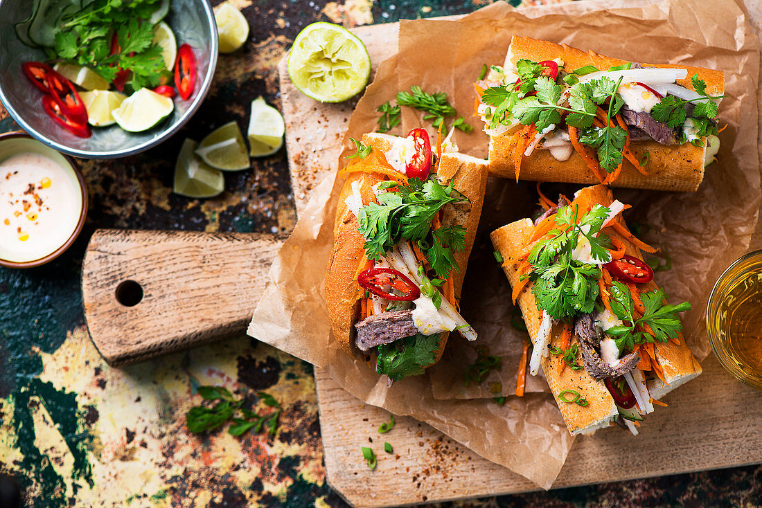 Banh-Mi sandwiches with beef