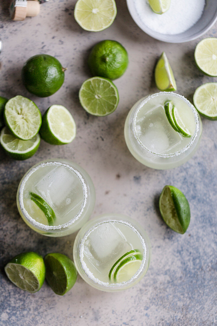 Classic margaritas with salt and limes