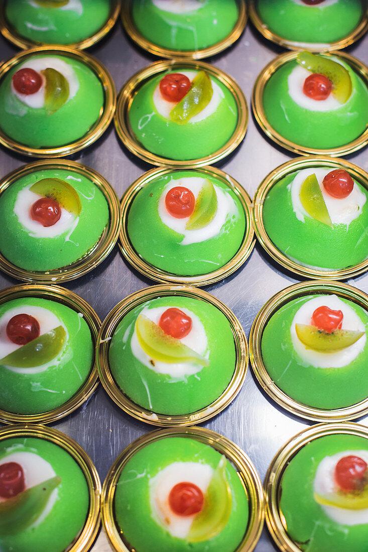 Cassata siciliana (ricotta cream cakes with candied fruit, Italy)