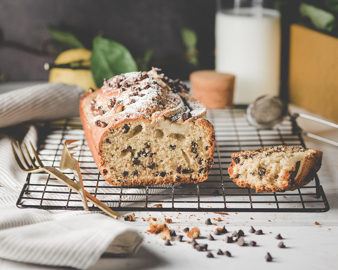 Banana bread with chocolate chips and lemon