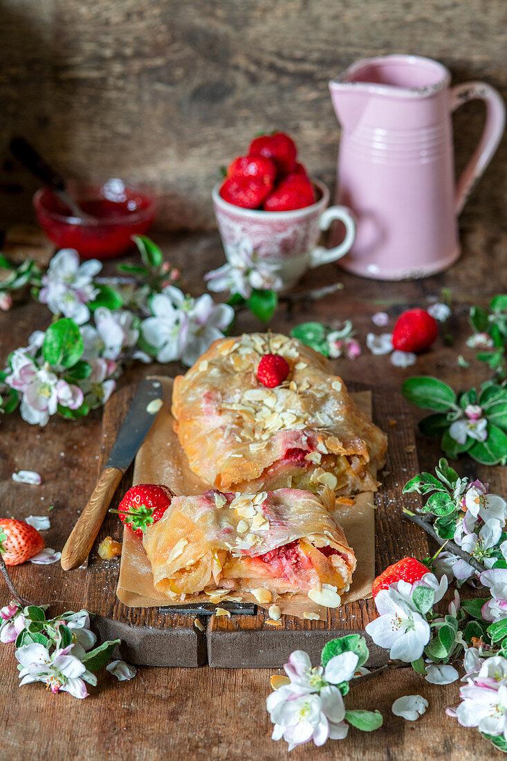 Apple and strawberry strudel