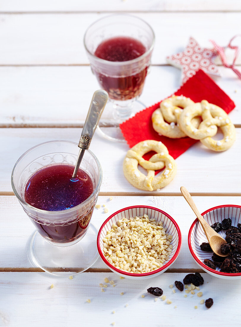 Swedish punch with red wine, brandy, almonds and sultanas served with biscuits