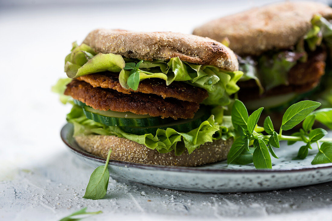 Dark wheat bread with soya fritters and salad