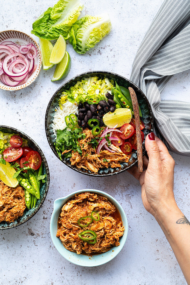 Diet coke chicken bowl with vegetables
