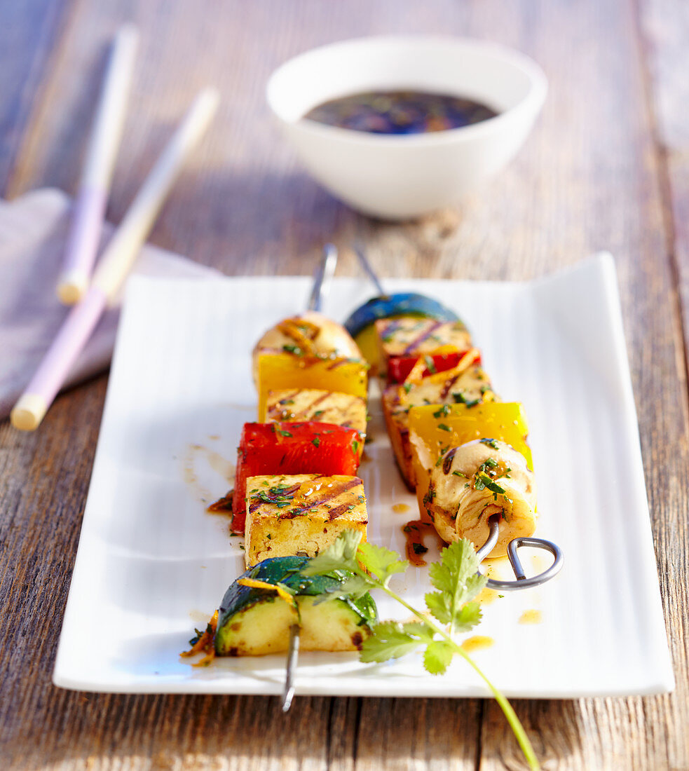 Grilled oriental vegetable and tofu skewers with a soya marinade