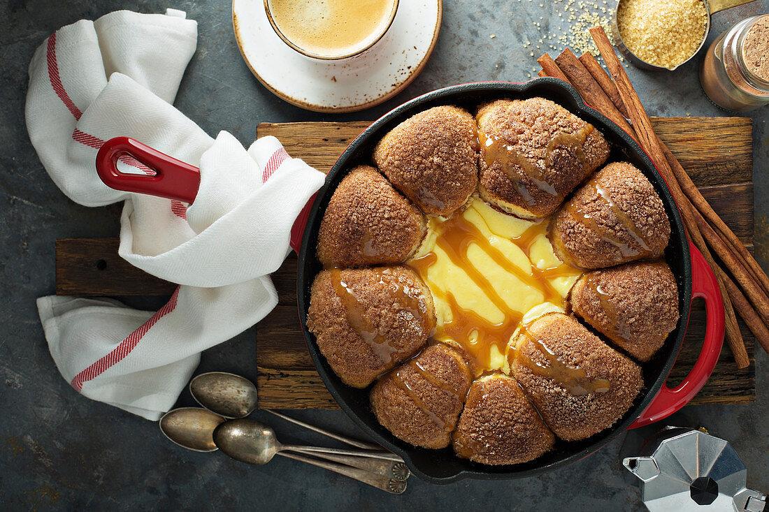 Cinnamon sugar buns with cream cheese dip