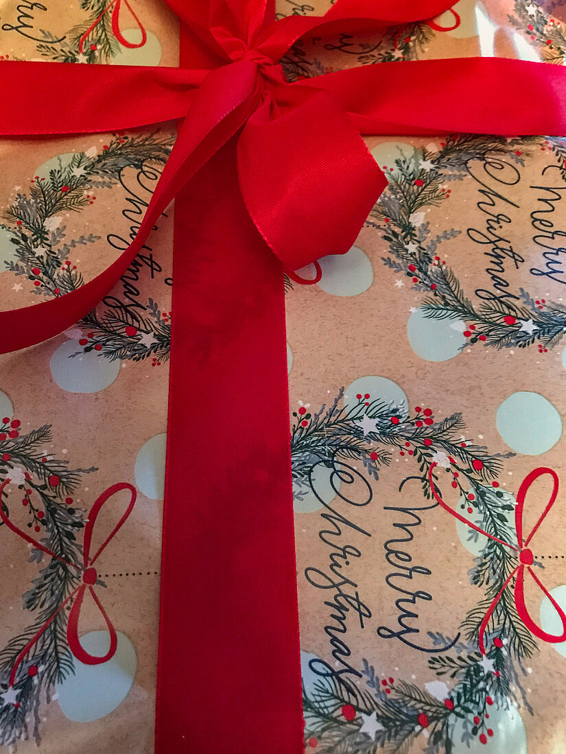 Detail of a Christmas present with a red bow