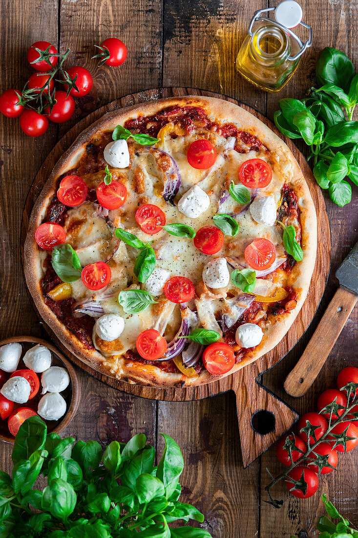Pizza with mozzarella from above