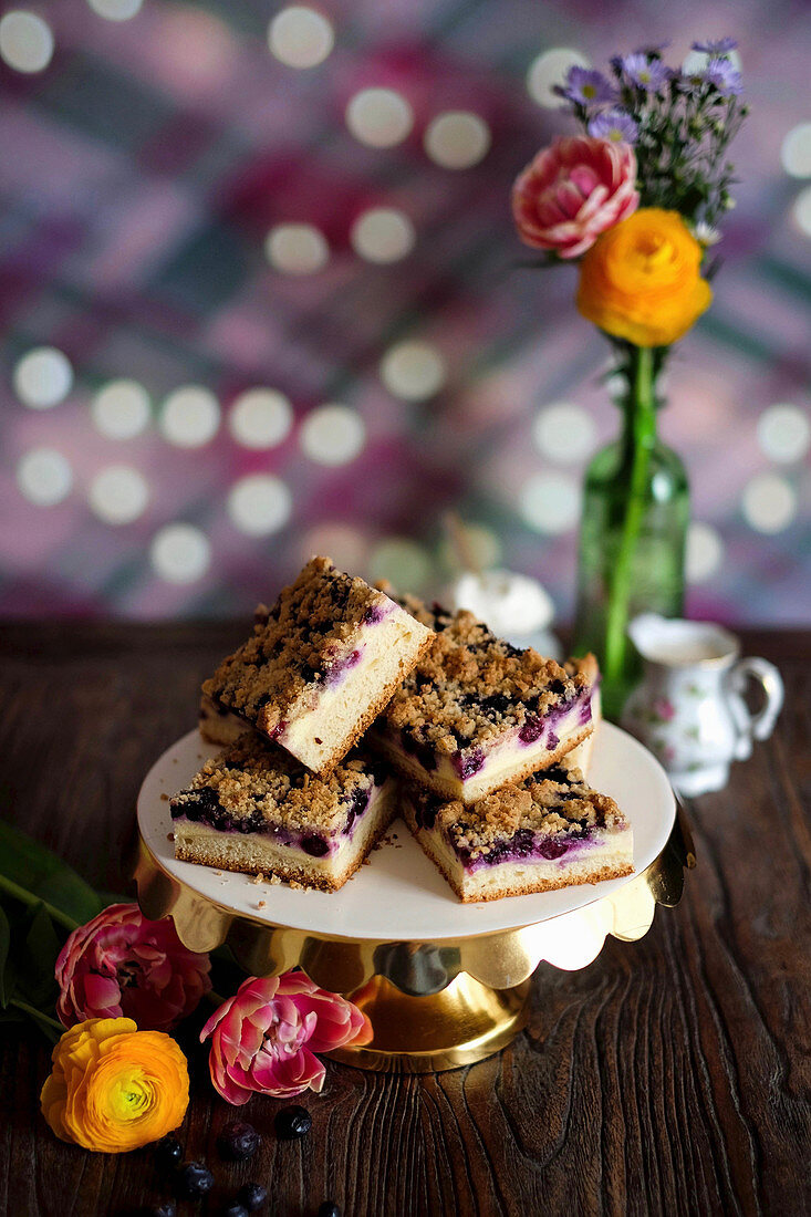 Blueberry and quark crumble cake slices