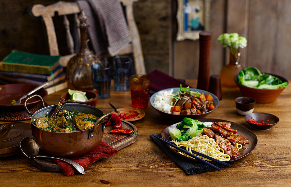 Lamb and spinach curry, Szechuan style pork and pumpkin-beef dish