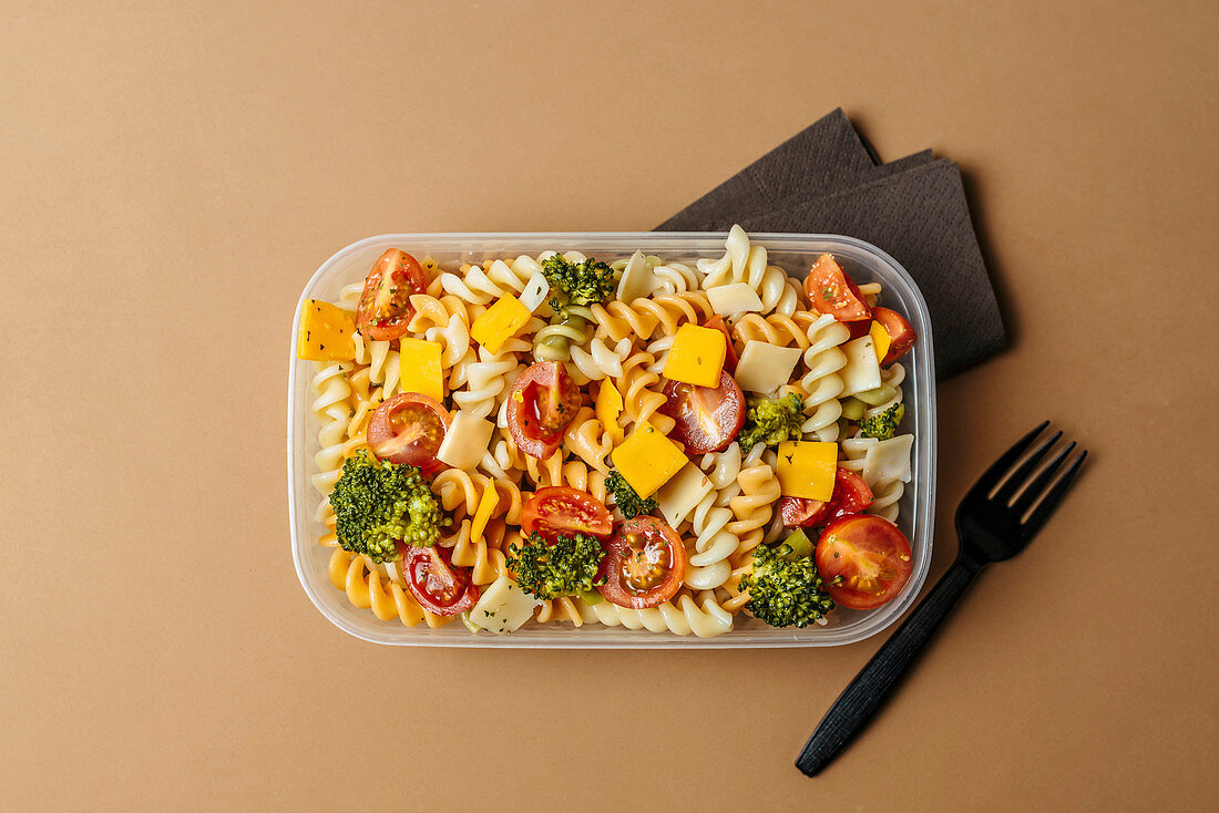 Lunchbox with pasta salad