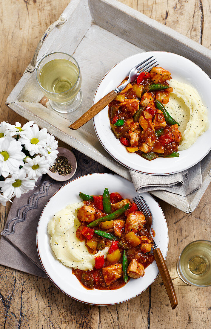 Diet cola chicken with potato and parsnip purée