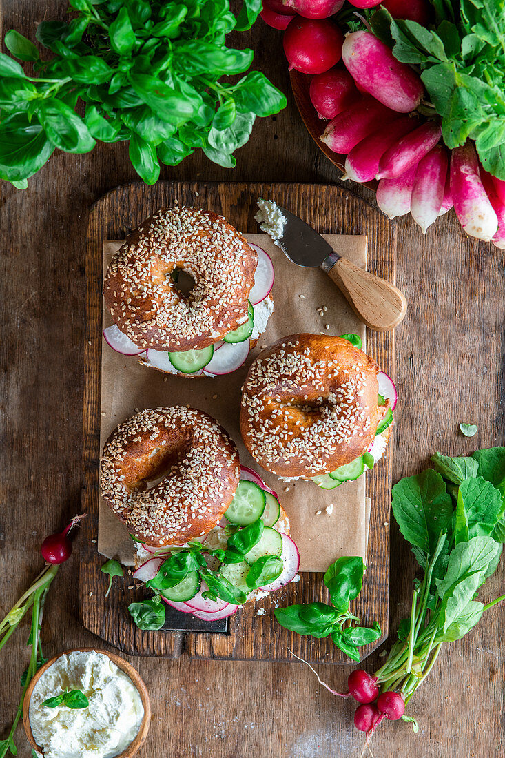 Bagels with radish and cucumber and cream cheese