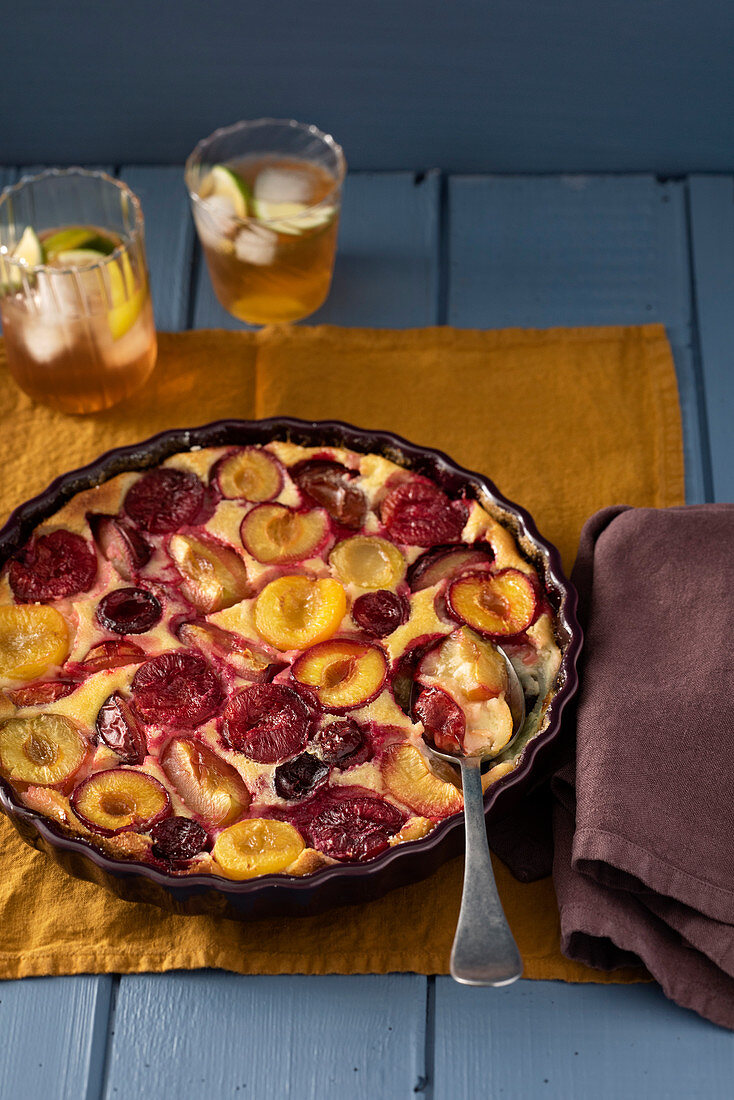 Plum clafoutis with orange blossom water and nutmeg