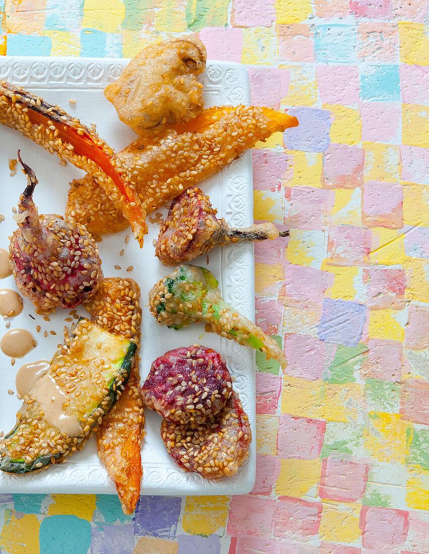 Vegetable tempura with sesame seeds