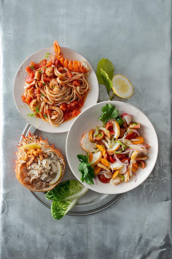 An arrangement of crustacean dishes