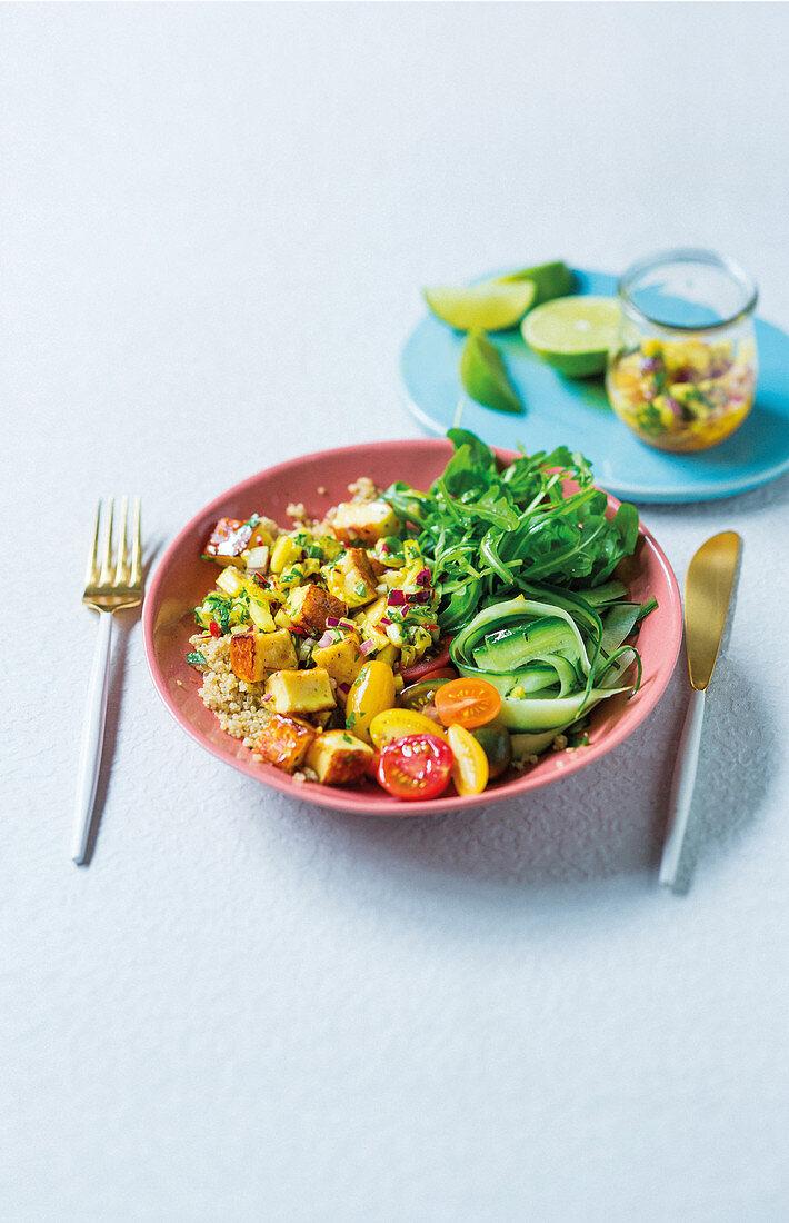 Halloumi salad with pineapple-turmeric dressing