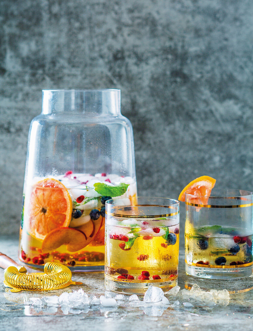 Sangria with sparkling wine and fresh fruits