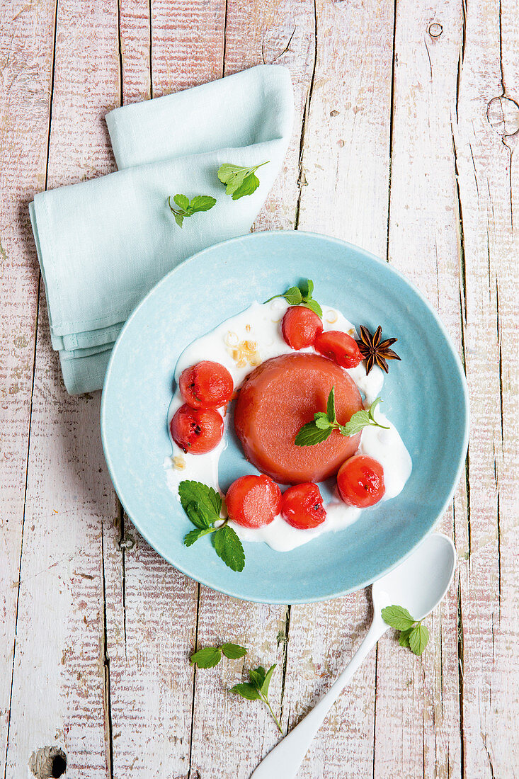 Watermelon jelly with lemongrass and coconut cream