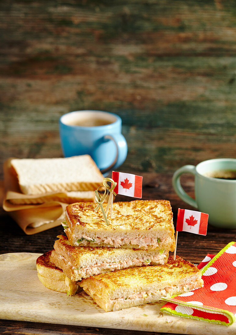 Canadian style French toast with salmon cream