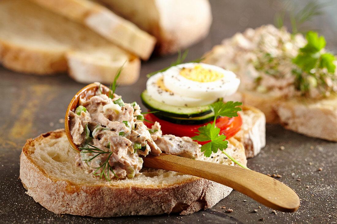 Ciabatta bread with homemade tuna cream