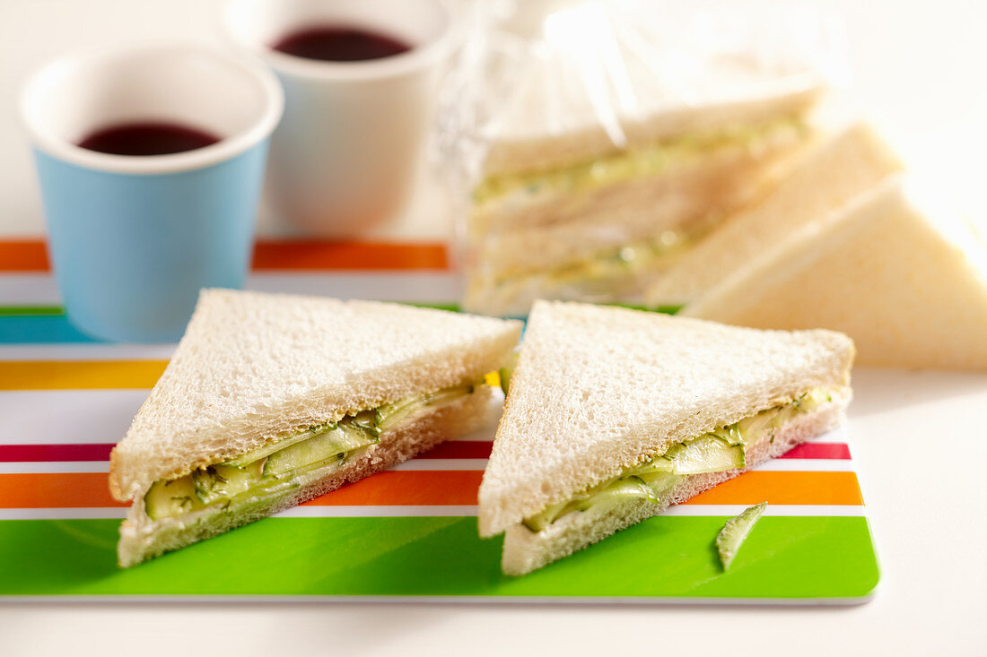 English cucumber sandwiches with dill, mustard, cream cheese on toasted bread
