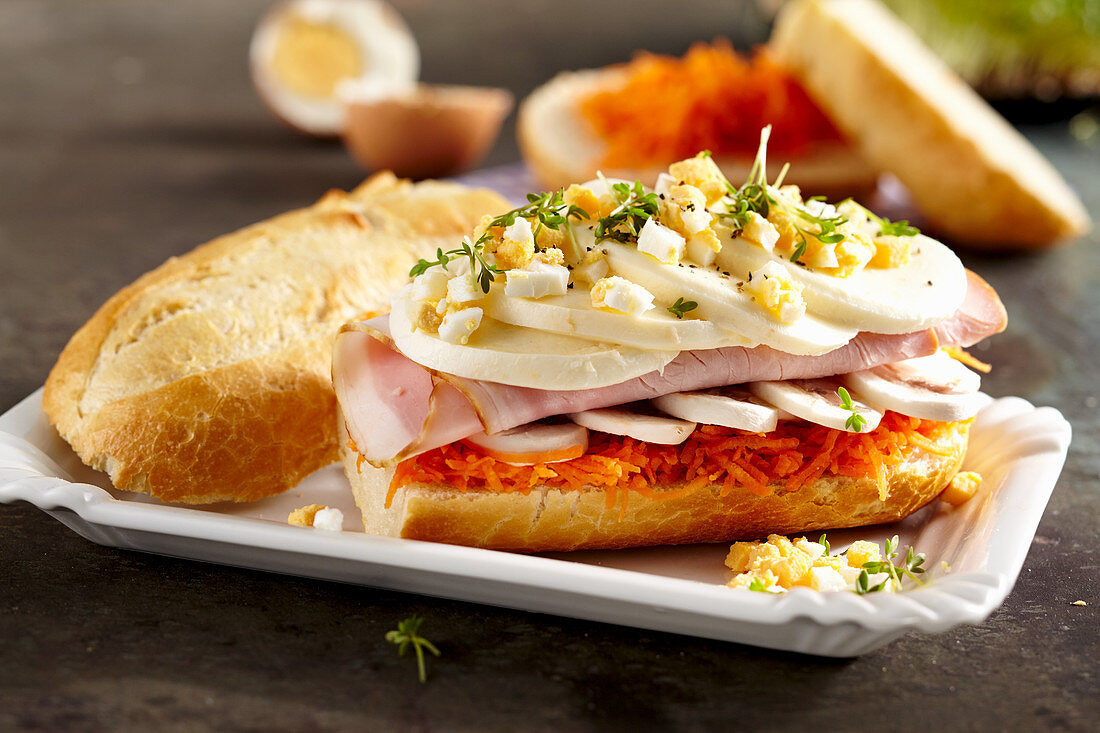 A sandwich with carrot, mushrooms, boiled ham, mozzarella, egg and cress