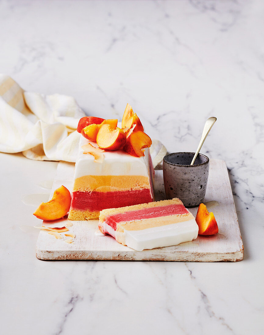 Summer peach and berry sorbet cake
