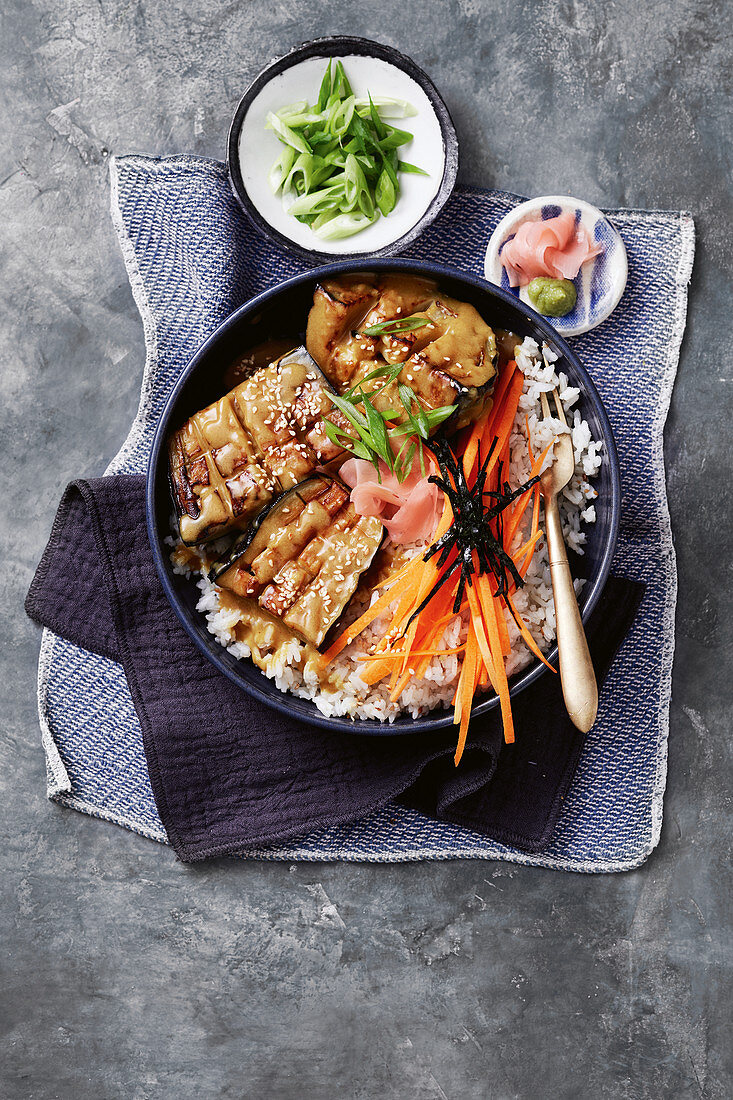 Japanese-style curried eggplant with sesame wasabi rice