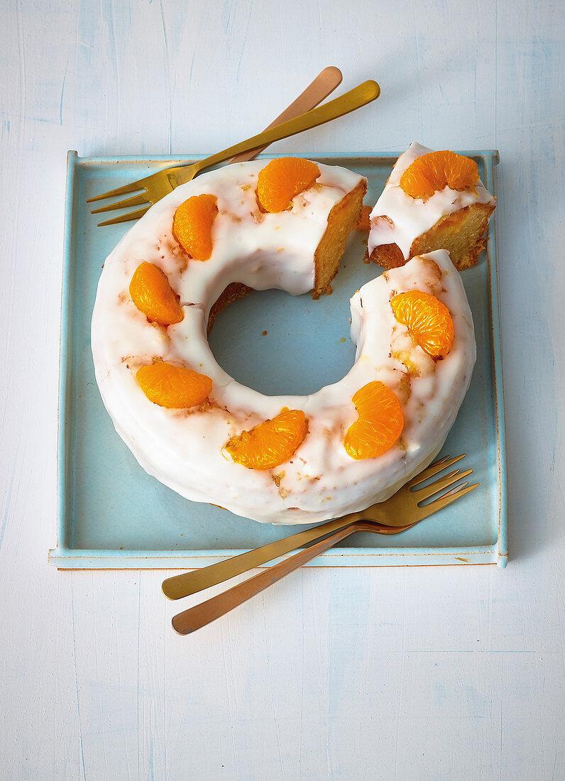 A mini marzipan and mandarin cake