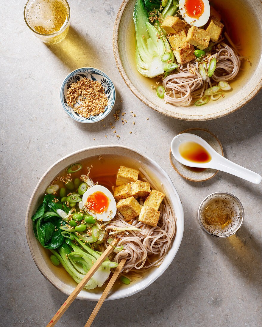Noodle soup with tofu, egg and pak choi (Asia)