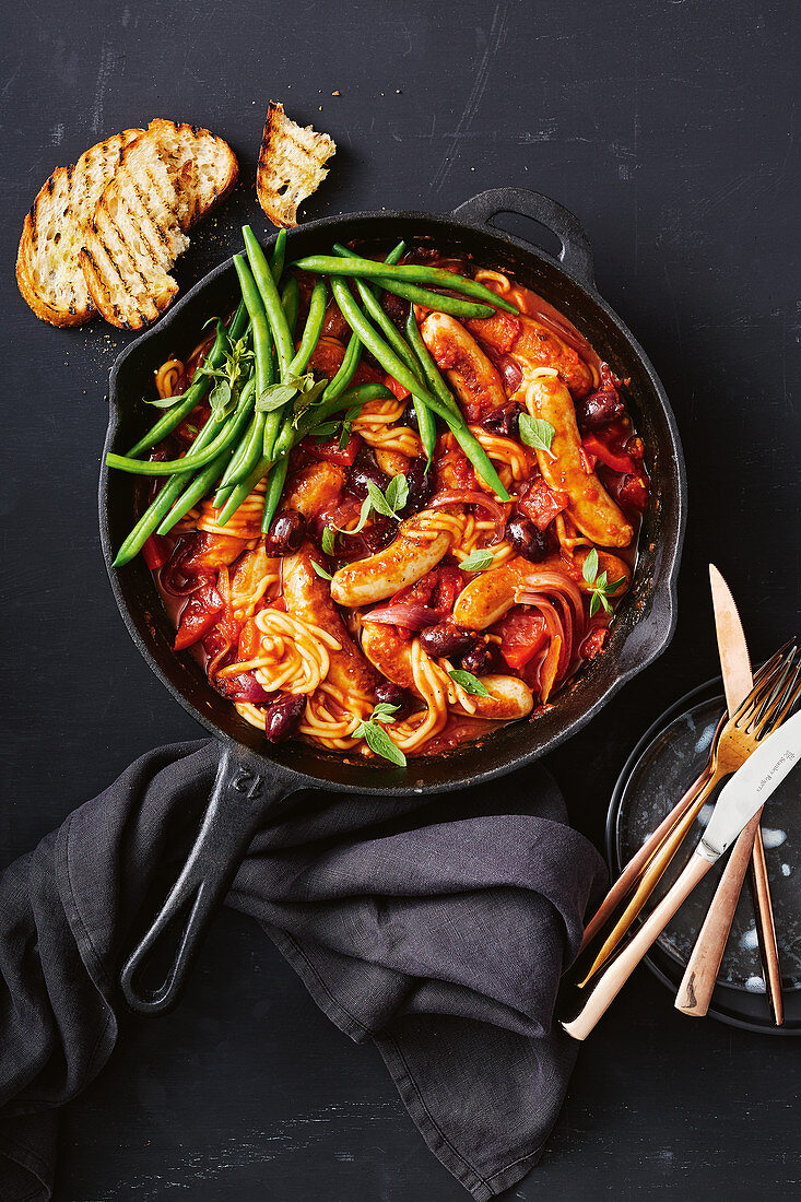 One-pan chicken cacciatore with sausages