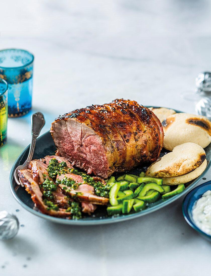 Roast lamb with gremolata