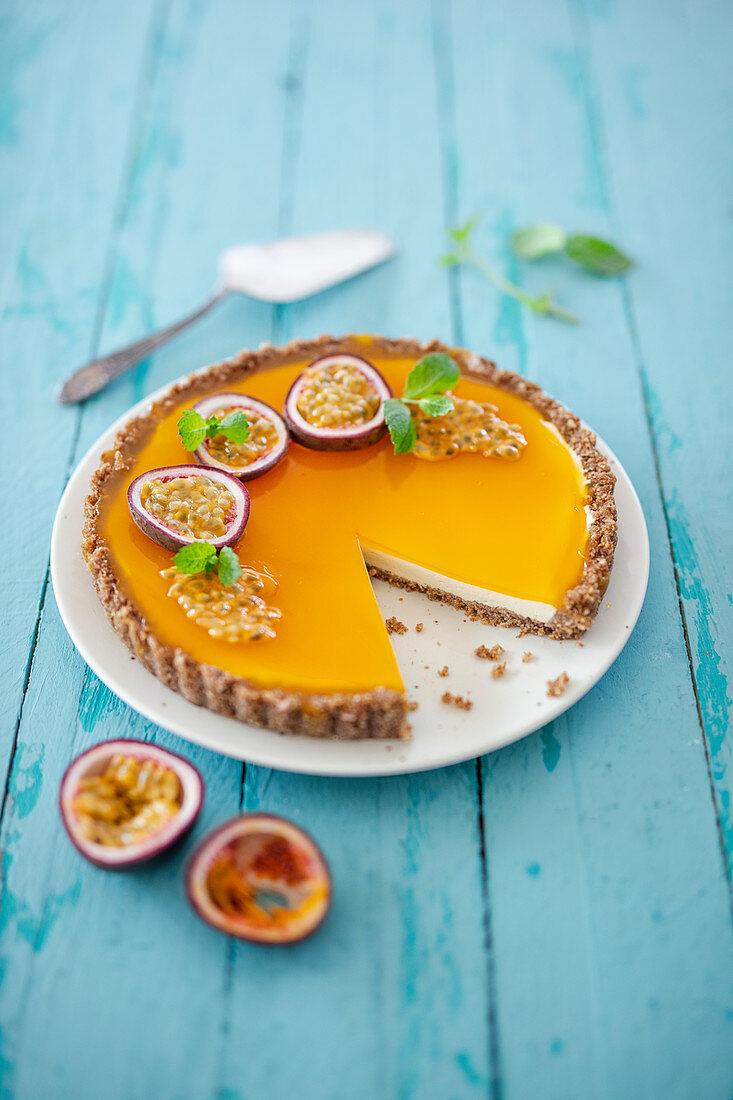 Passion fruit Cheesecake with weetabix base (Australia)