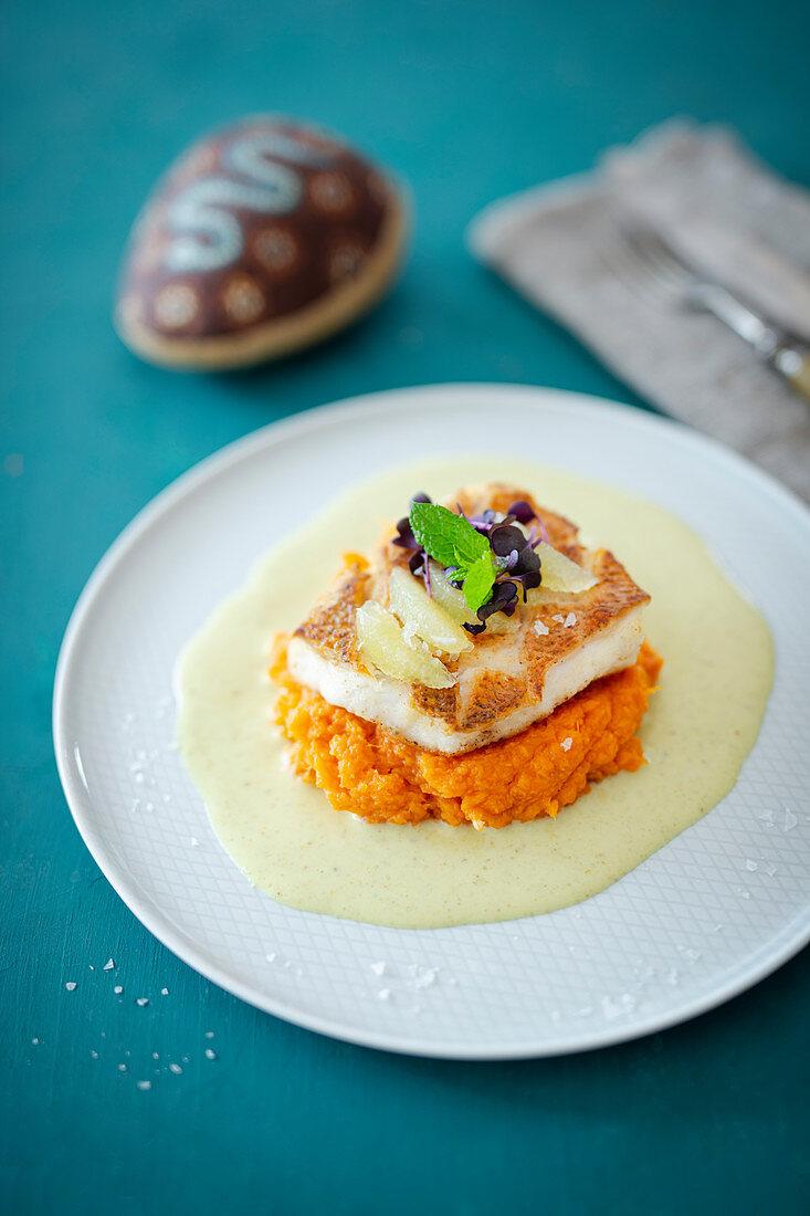 Barramundi filet on sweet potato puree (Australia)