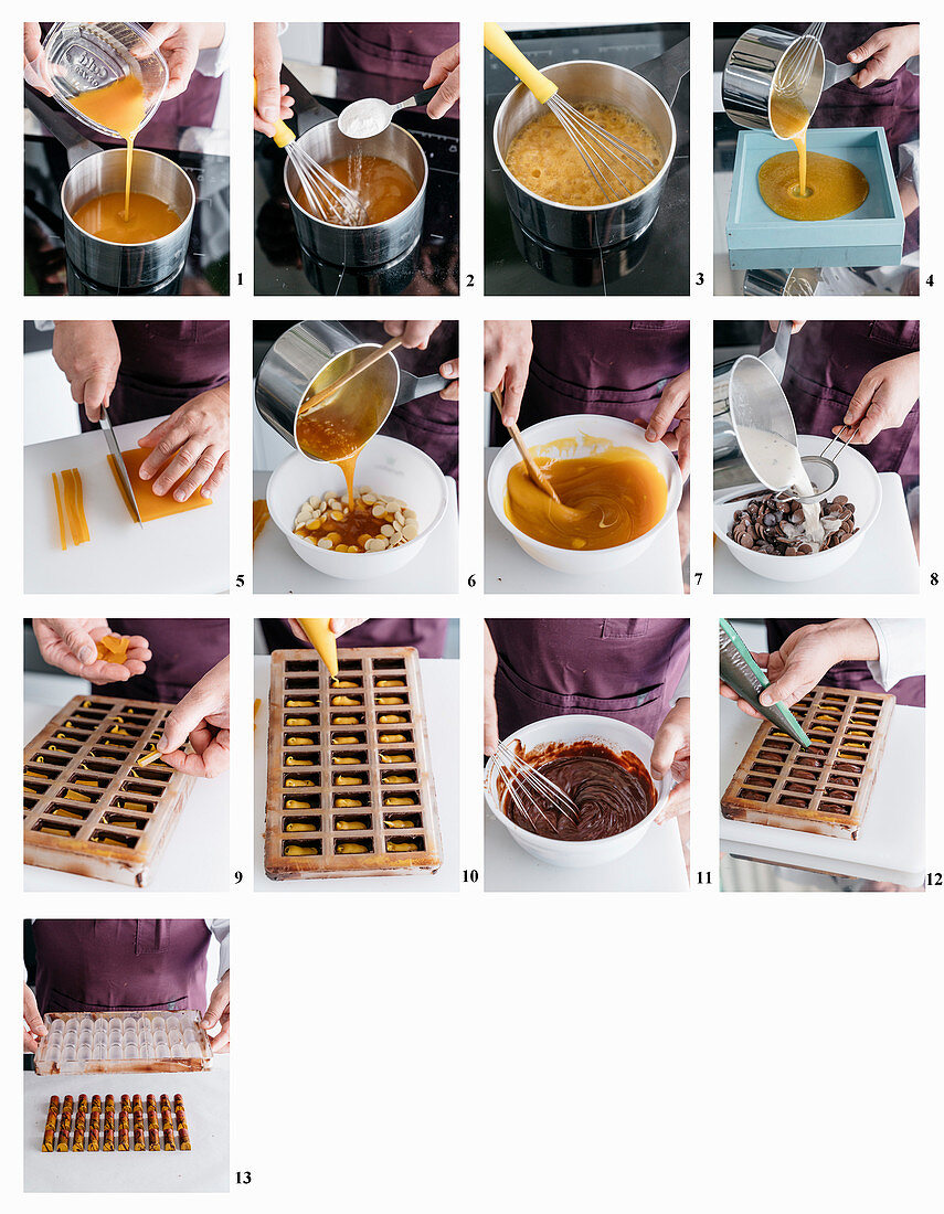 Making mango and passion fruit pralines with pink pepper