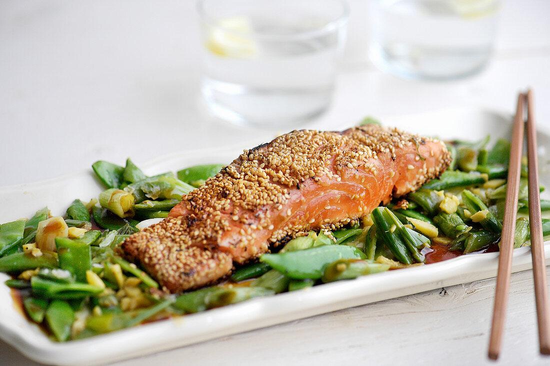 Sesame seared salmon with miso glaze and sugar peas