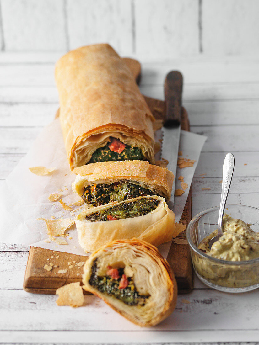 Green kale strudel with mustard cream from East-Westphalia