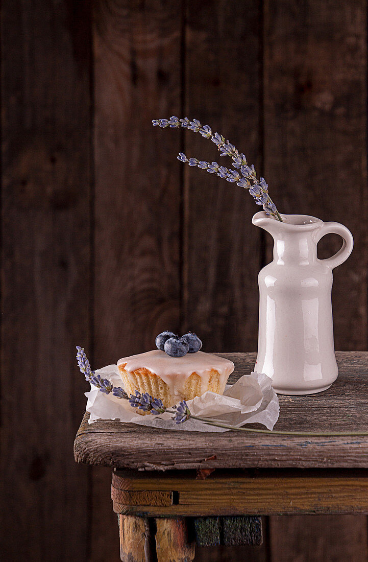 Muffin with bluberry decorated with lavender