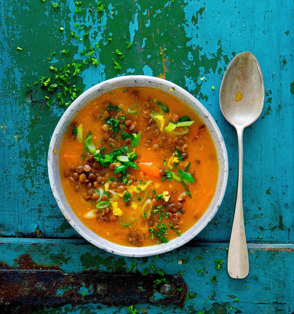 Lentil soup with leek