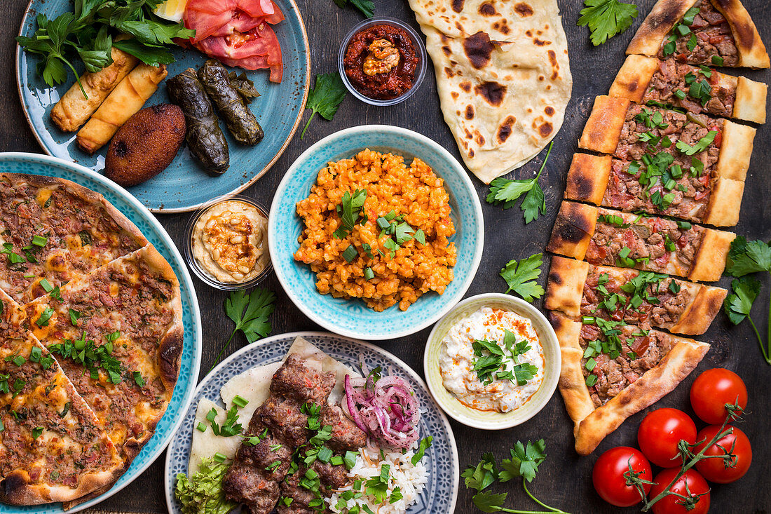 Traditional assorted turkish dishes