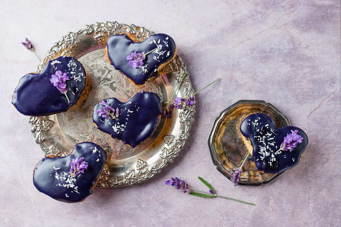Lemon hearts with lavender flowers and coconut