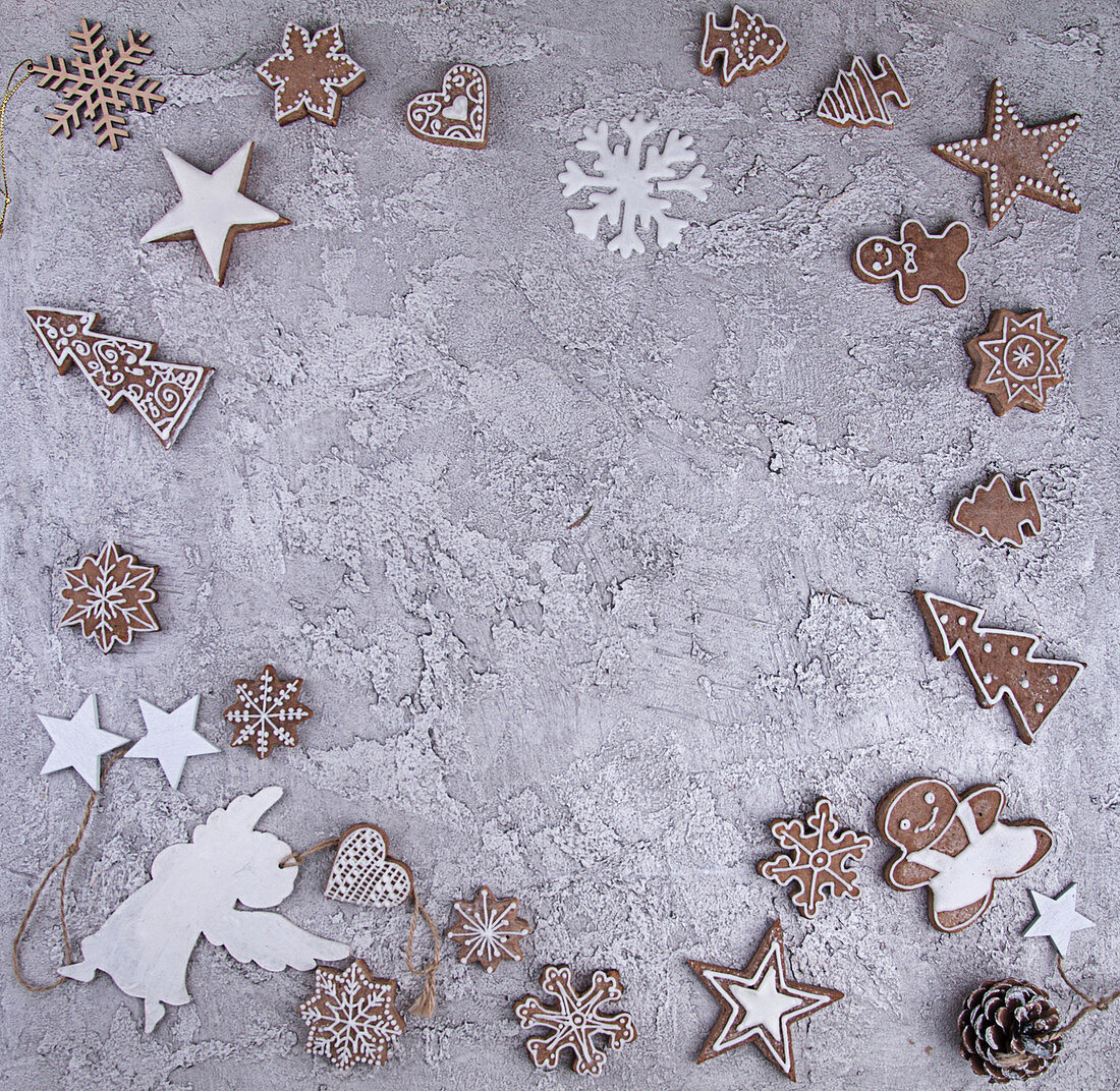 Various gingerbread cookies arranged in a border