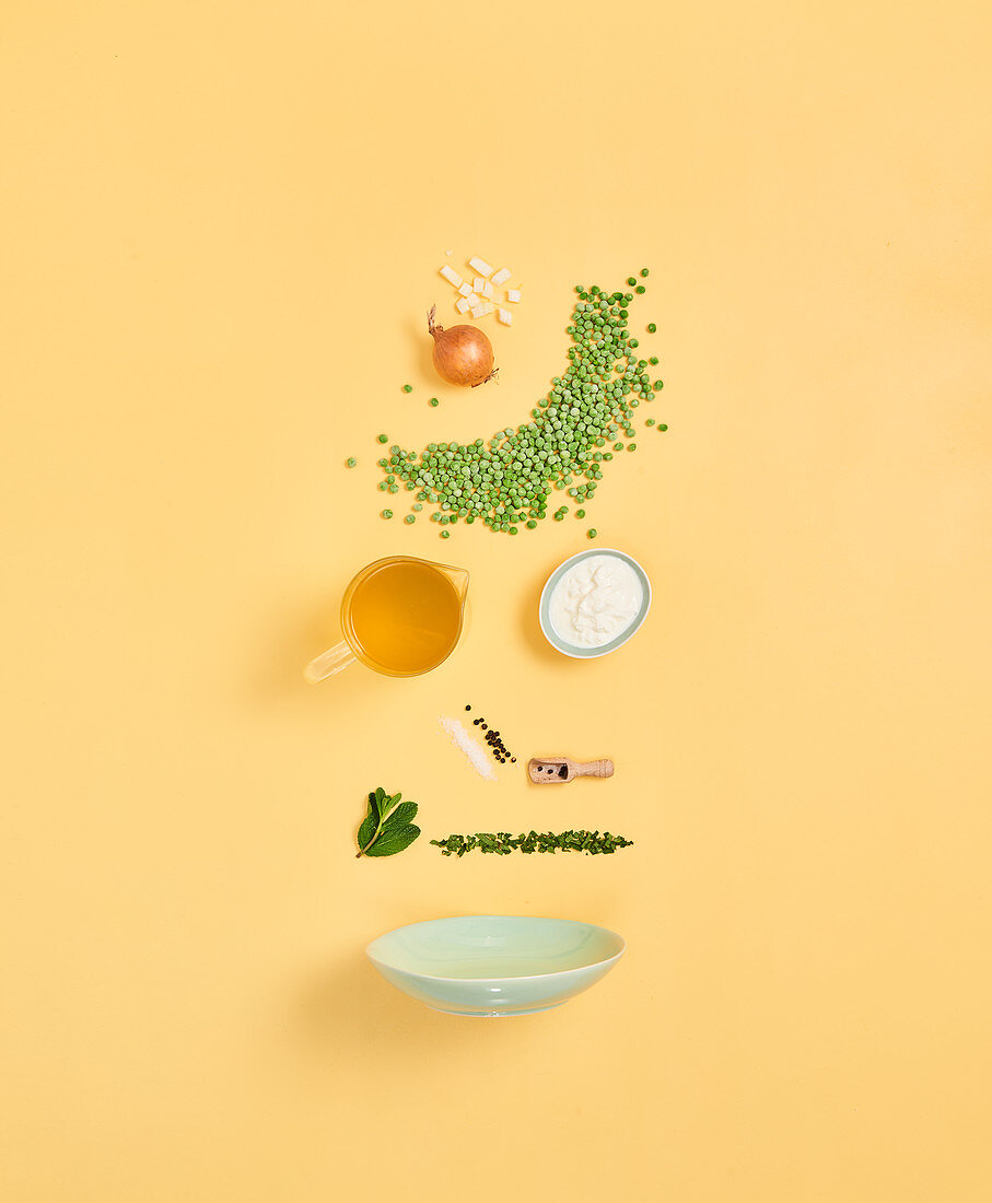 Zutaten für Erbsen-Minz-Suppe