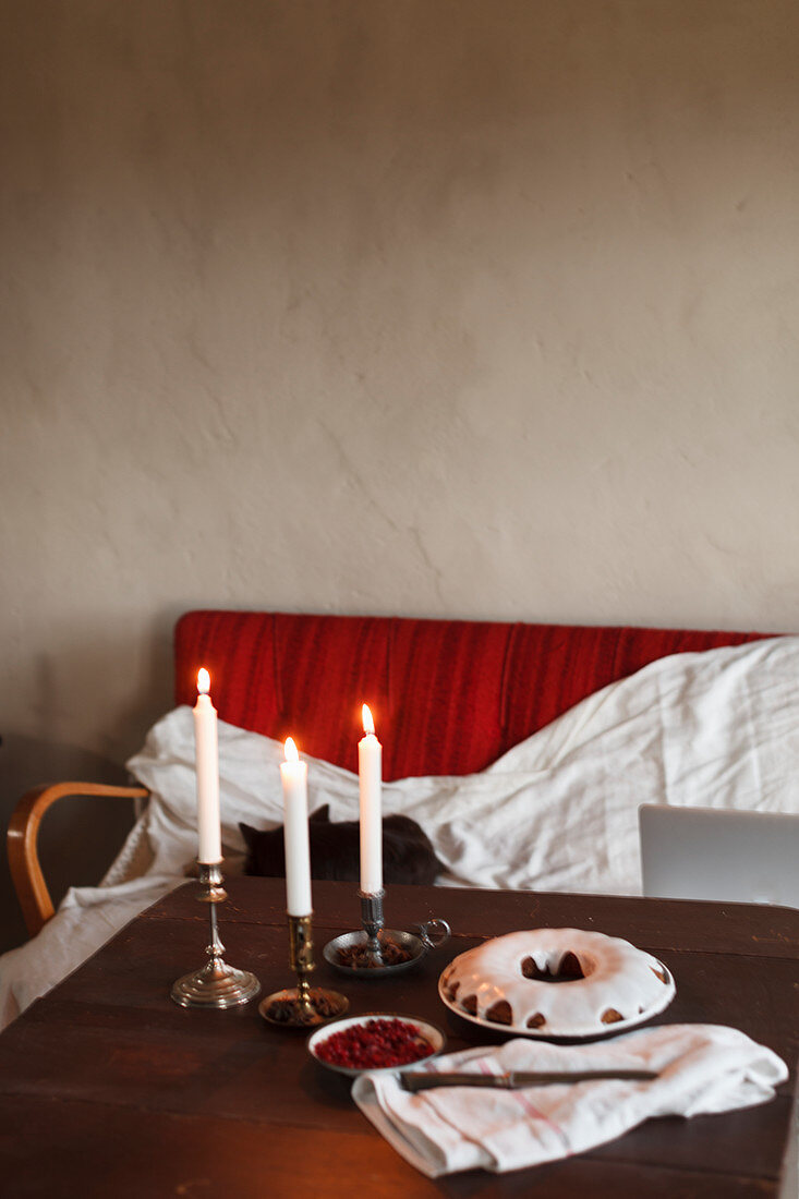 Fresh cake on table
