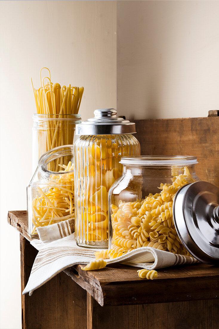 Pasta in storage jars