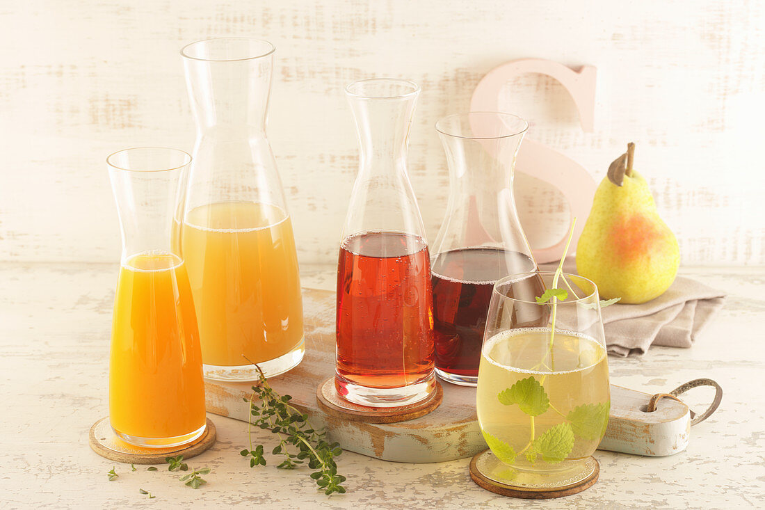 Various juices (pear, currant, grape, apple, orange)