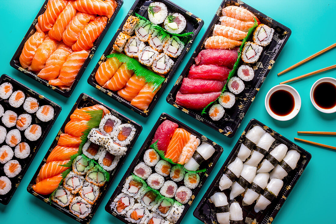 Sushi tableau with nigiri, maki and inside-out rolls