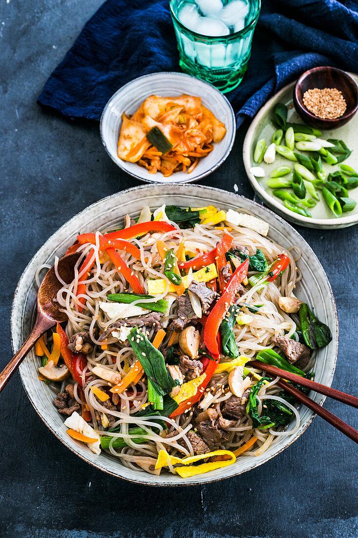 Korean glass noodles (kapchae)