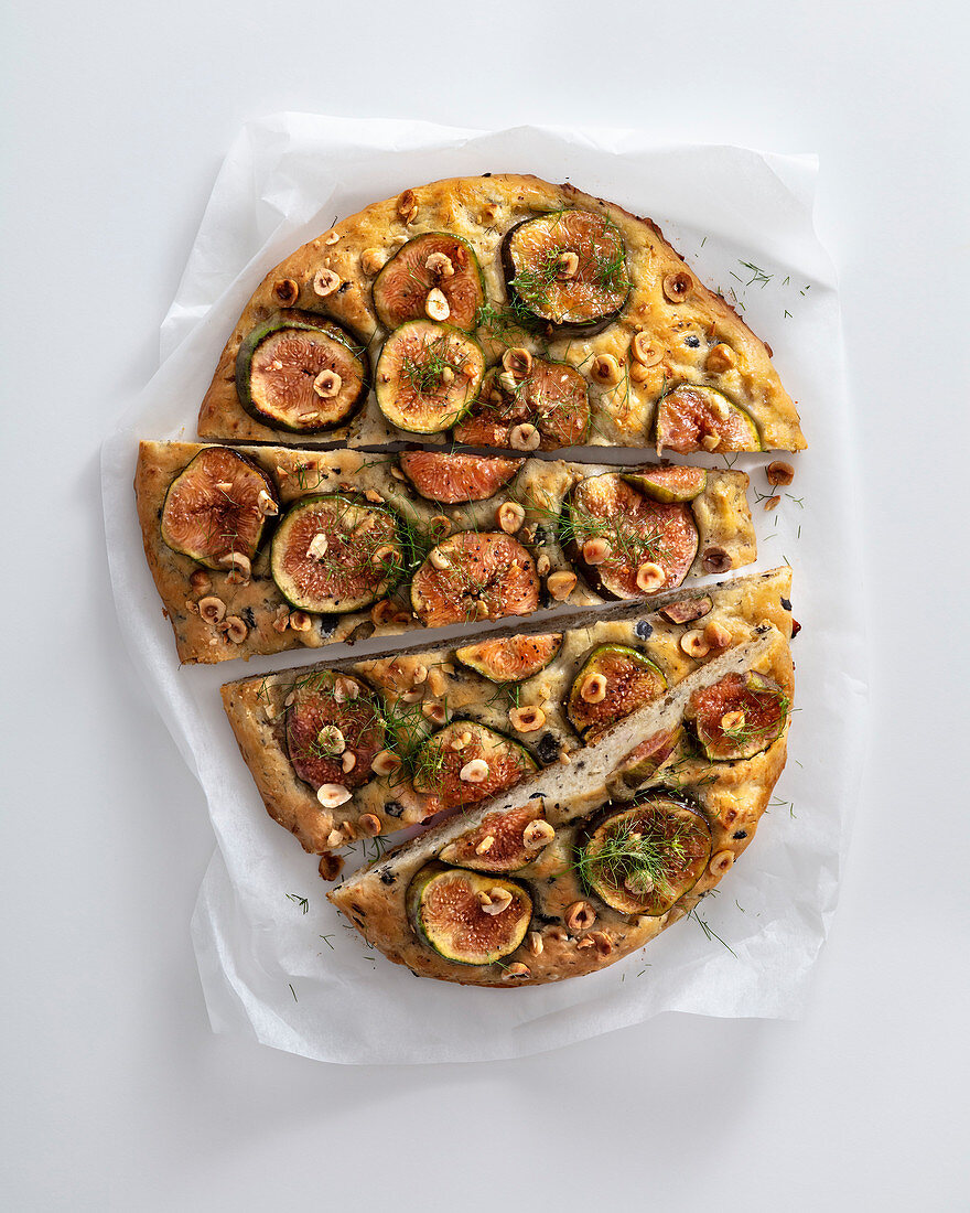 Olive focaccia with figs and hazelnuts